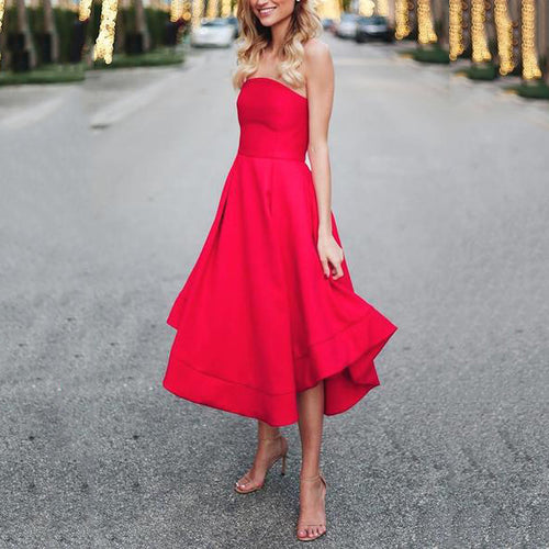 2019 Sexy Red Sleeveless Wrapped Chest Evening Skater Dress