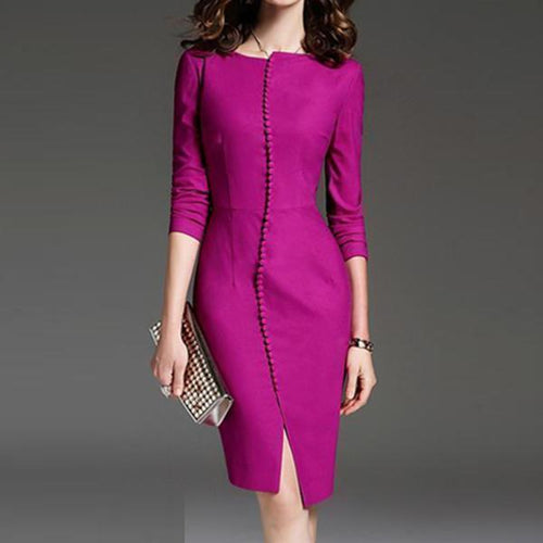 Majorgous Round Neck  Plain Bodycon Dress
