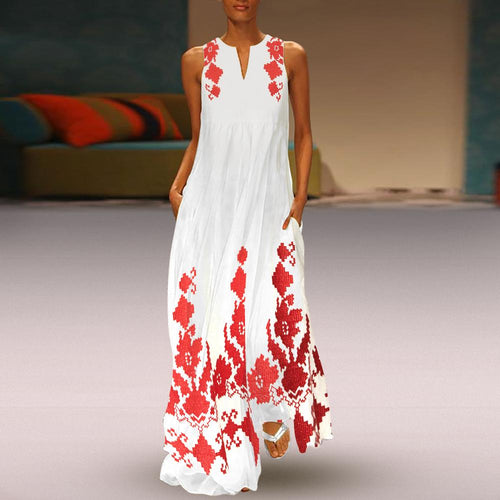 Majorgous Chinese Printed Maxi Shift Dress Casual Dress