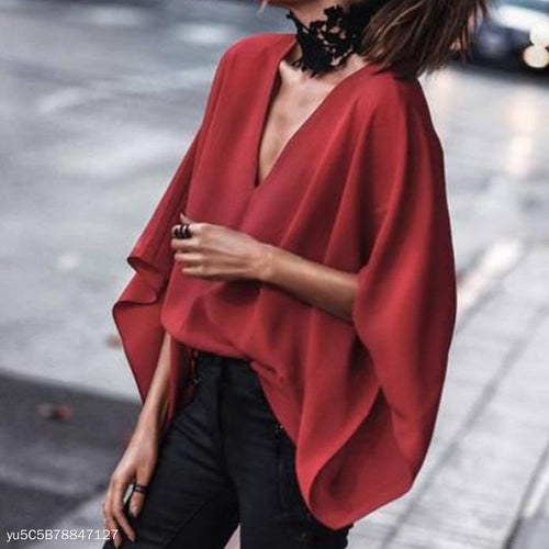2019 V-Neck Bat Sleeve Blouse