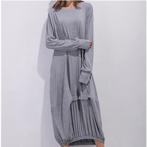 Majorgous Long Sleeve Round Neck Lantern Maxi Dress