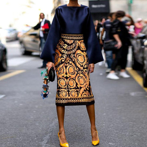 2019 Early Fall Chic Square Collar Top With Vintage Printed Skirt Suits