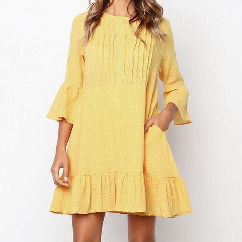 Fashion Solid Color Ruffled Bell Sleeve Casual Dress