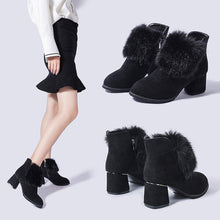 Autumn And Winter 2018 Martin Boots Side Zipper With Plush Plus Velvet Ankle Boots