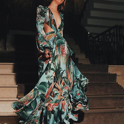 Fashion Elegant Floral Printed V-Neck Maxi Dress