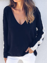 Sexy V-Neck Colorblock Knit Sweater