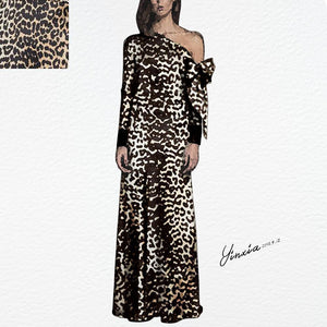 Autumn/Winter Leopard Printed Fashion Satin Maxi Dress