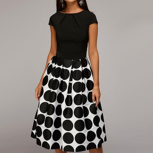 2019 Fashion Polka Dot Printed Short Sleeve Midi Skater Dress