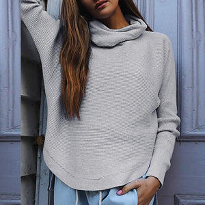Turtle Neck Long Batwing Sleeve Plain T-Shirts