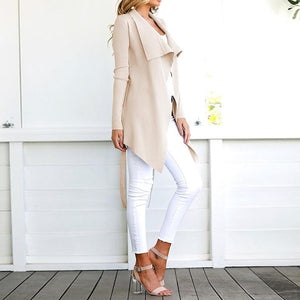 Fashion Lapel Long Sleeve Belt Asymmetrical Hem Cardigan