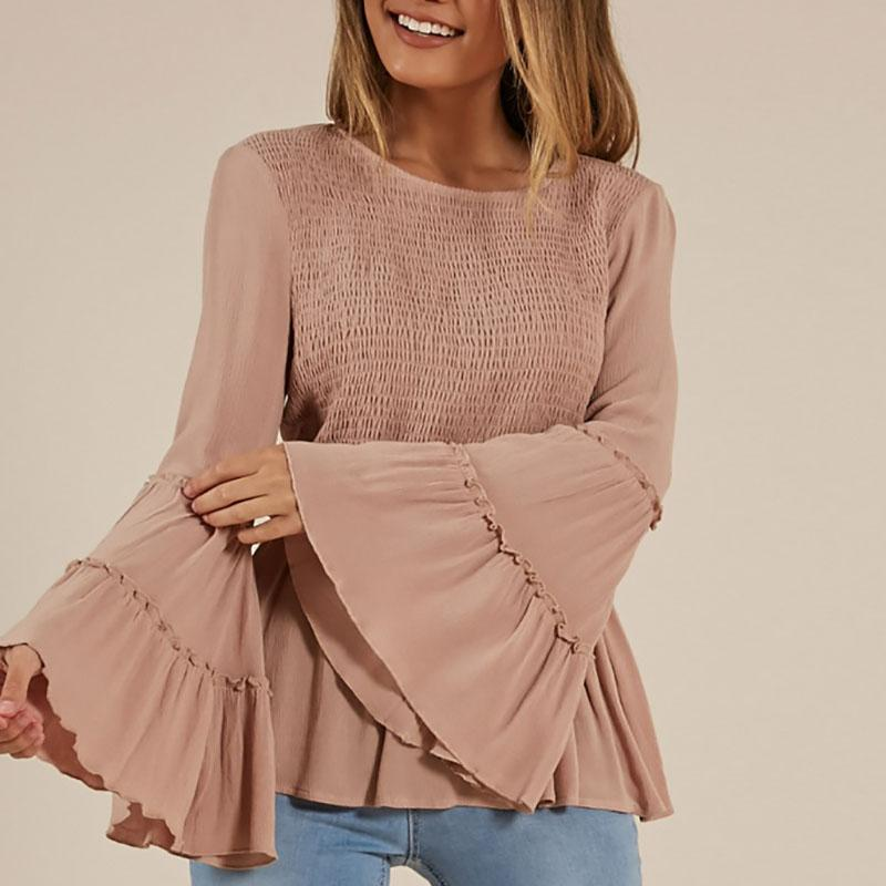 Sexy, Solid Color Crepe T-Shirt, Flared Sleeve Shirt