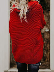 Woman Sweater Solid Color Turtleneck Pullover Sweater