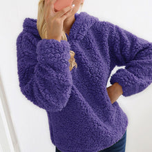 A Heavy Plush Long-Sleeve Hooded Sweater Coat