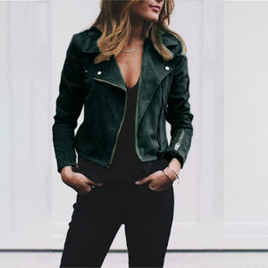 Autumn Winter Lapel Oblique Zipper Short Jacket