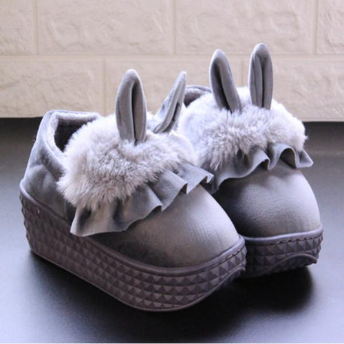 Winter Bedroom Cute Rabbit High Heel Cotton Slippers