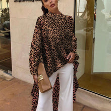 Autumn And Winter   Fashion Color Leopard Irregular Coat