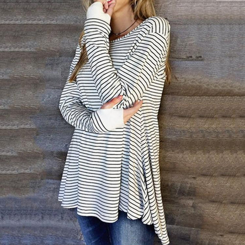 Round Collar And Long Sleeve Slit Dress Casual Striped T-Shirt