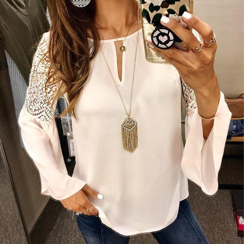 Casual Fashion Lace   Mosaic Horn Sleeves Long Sleeved Chiffon Blouse Shirt