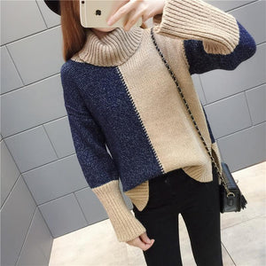 Autumn And Winter Warm Color Matching Loose High Neck Knitted Sweater