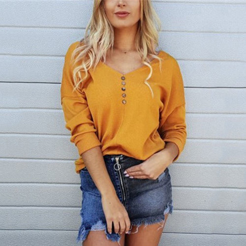 Casual Pure Color Sexy   V Neck Off The Shoulder Button KnitT-Shirt