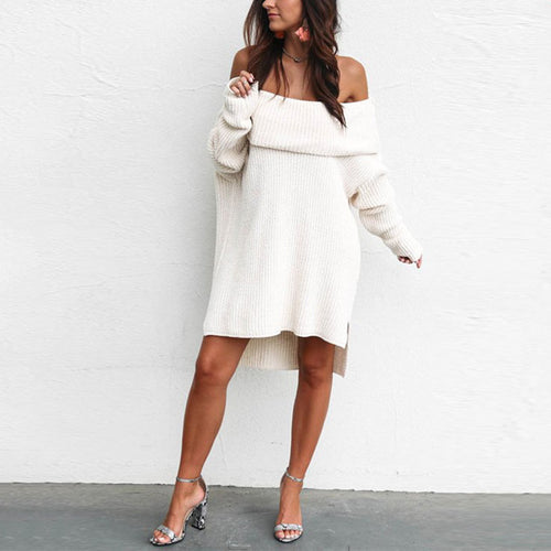 Casual Sexy Long One   Shoulder Sweater Mini Dresses