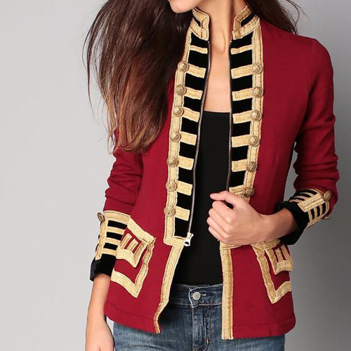 Long Sleeve Pure Colour Splicing Little Suit Jacket