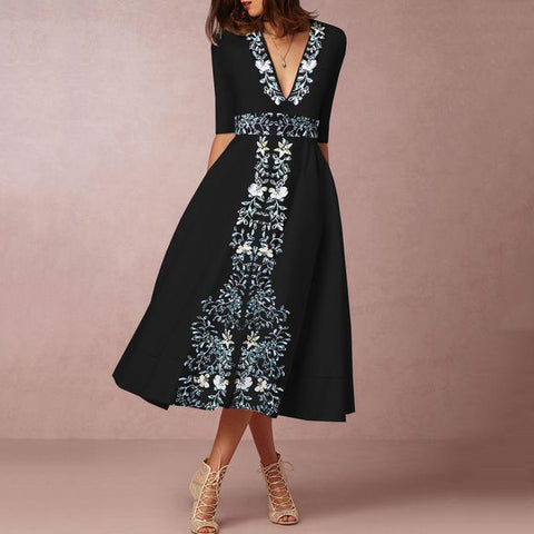 2019 Deep V-Neck  Printed Skater Dress