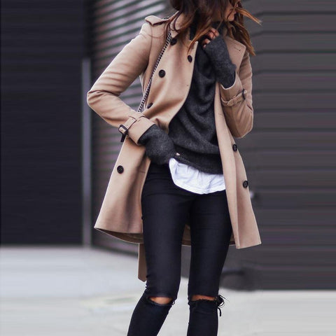 Turndown Collar Pure Colour Long Sleeve Coat