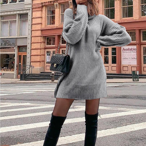 Casual High Collar Pure Colour Thickening Knitted Sweater
