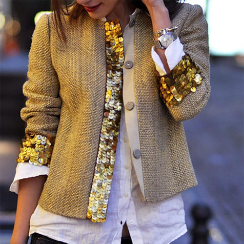 Fashion Sequins Splicing Long Sleeve Coats
