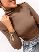 Fashion High Collar Button Decoration Knitted Sweater