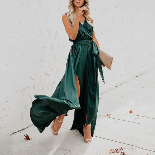 2019 Women Fashion Sleeveless V Neck  Bow Belt Split Maxi Dresses