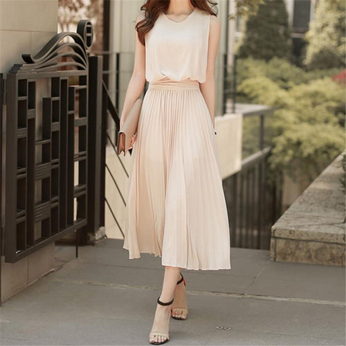 2019 Fashion Trim Plain Color Thin Sleeveless Wrinkled Dress