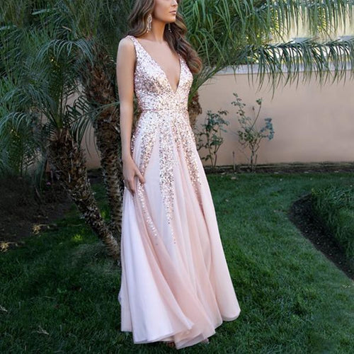 Fashion Sexy V Neck Sequined Sleeveless Slimming Maxi Dress