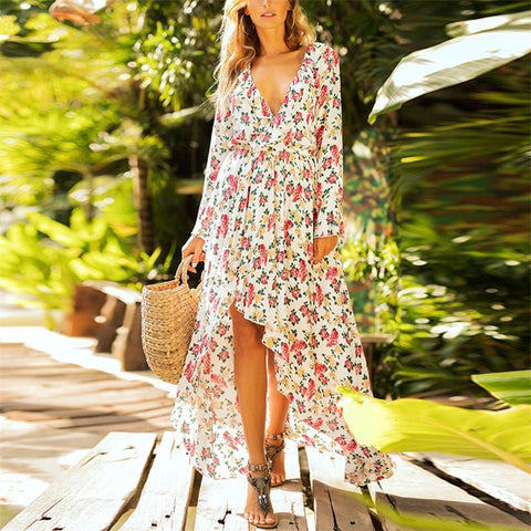 Fashion Sexy V Neck Fallback Floral Print Maxi Dress