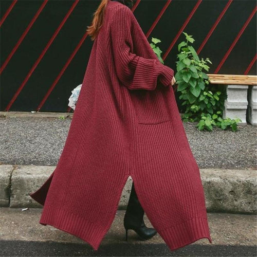 Fashion Loose Pure Color Long Knit Sweater Cardigan Coat