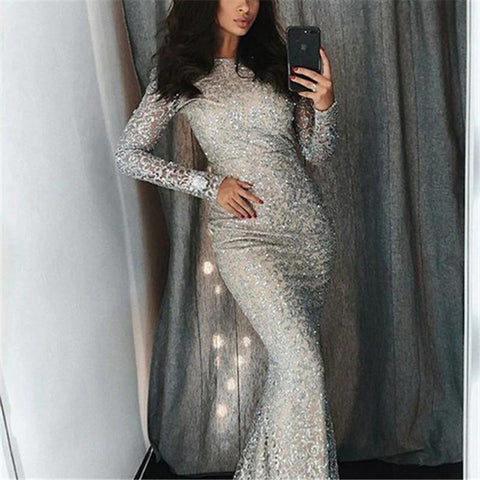 2019  Fashion Sexy Sequins Evenig Party Maxi Bodycon Dresses