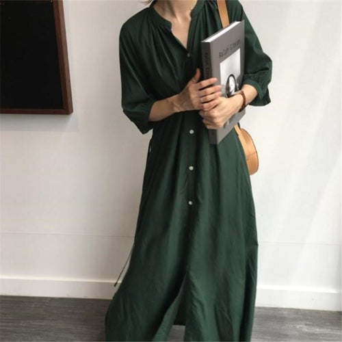Fashion Pure Color Long Sleeve Loose Show Thin Shirt Maxi Dresses