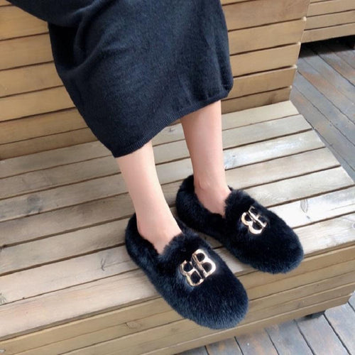 BB Metal Buckle Soft Bottom Wear Warm Fur Shoes Women