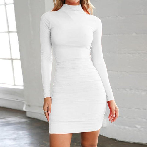 Fashion High Collar Sexy Long Sleeve Mini Bodycon Dress