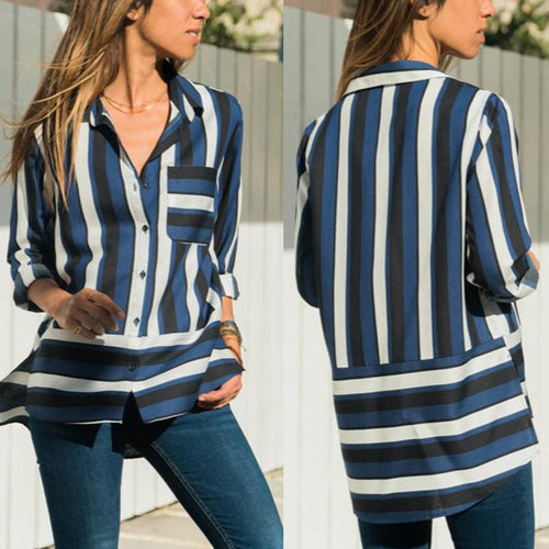Fashion Chiffon Casual   Long Sleeve Strips Shirt