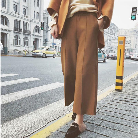 Fashion Slim Pure Color Wool Wide Leg Pants