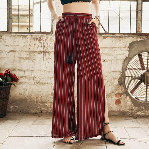 Bohemian Retro Print Holiday Slim Split Wide Leg Pants
