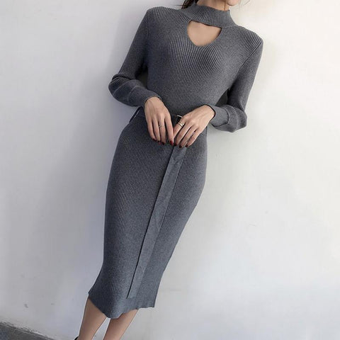 Casual Sexy Pure Color Knitted Bodycon Dresses