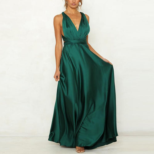 Casual Sexy V Neck   Backless Pure Color Maxi Dresses