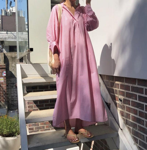 Casual Loose Plaid Long Sleeve Shirt Maxi Dress