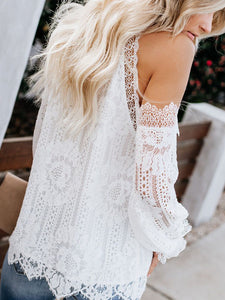 Elegant Lace Long Sleeve Off-Shoulder Shirt