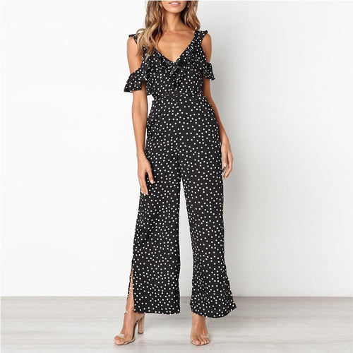 Casual Sexy Off Shoulder Wave Point Wide Leg Jumpsuit