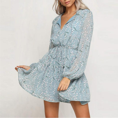 Casual Sexy V Neck Floral Print Mini Dresses