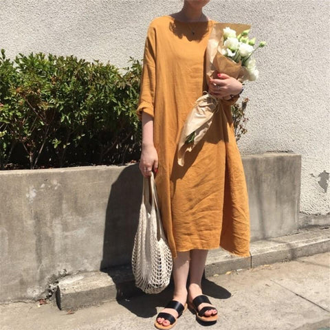 Casual Pure Color   Round Collar Loose Maxi Dress